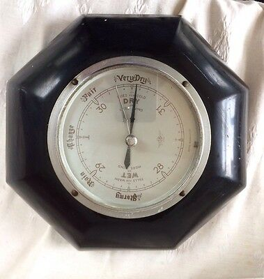 Antique Barometer,mid 20Th Century Anaroid Barometer In Black Bakalite Case,g/c