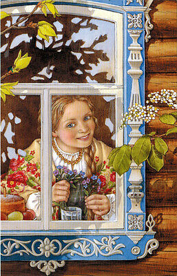 LARGE size Russian postcard SPRING WINDOW Girl with early flowers