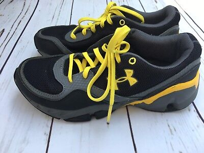 Under Armour Boys Athletic Sneakers Black/Gray/Yellow Size 3Y