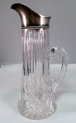 "Wilcox Silver Plate Co Cut Crystal 7.25"" Jug with Sterling Silver Mount c.1910"