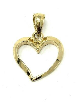 New 14K Yellow Gold High Polished Open Heart Classic Charm Pendant 1.4 grams