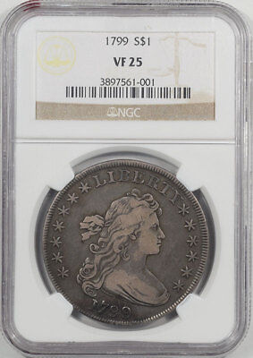 1799 Draped Bust Dollar Ngc Vf-25.  Another Coin From The Reeded Edge!