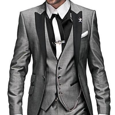 New Gray Men Suits Groomsmen Tuxedos Groom Suit Jacket Tie Pants Vest H6345