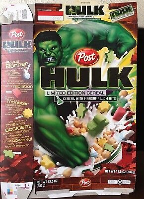 Post HULK Limited Edition Cereal  Empty Cereal Box - 2004
