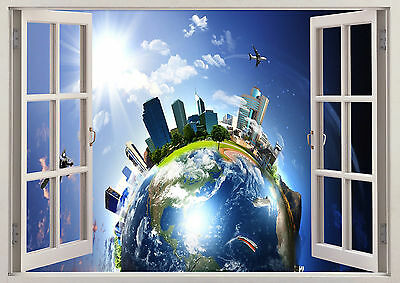 Planets Earth Solar System 3D Effect Window View Wall Poster Vinyl Girls Boys