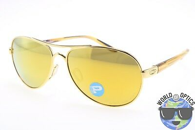 Oakley Women's Sunglasses OO4108-13 TIE BREAKER Gold w/ 24kt Iridium Polarized