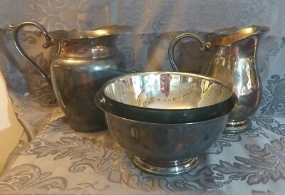 Vintage Lot of 4 Silver Paul Revere Reproduction & The Sheffield Co/Misc Pitcher
