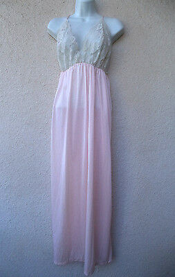 Vtg LONG NIGHTGOWN Lace Bust Area Open Back Full Length Pink Nice Sweep L to XL