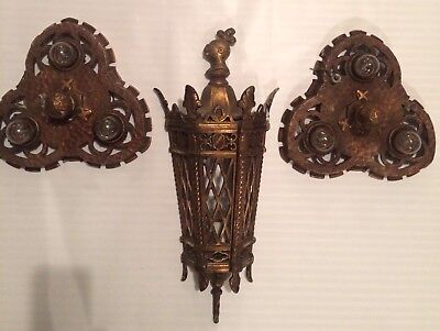 Antique Gothic Pair Of Ceiling Mount Lights With Wall Sconce Ornate Bronze