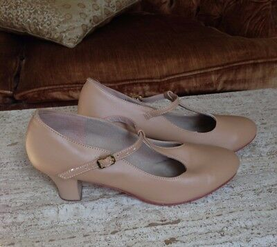 Theatricals Character Shoes 2-Inch Heels T-Strap Beige Women's Size 10