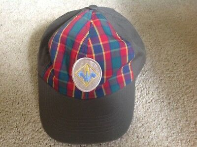BSA Boy Scouts Cub Webelos Hat Cap Green Plaid Youth M/L VGC