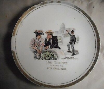 Vintage Advertising Cerematic Plate from The Toggery, Deer Lodge Montana