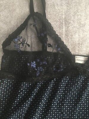 Women's Yamamay Lingerie Set Navy Black Lace Size S Small