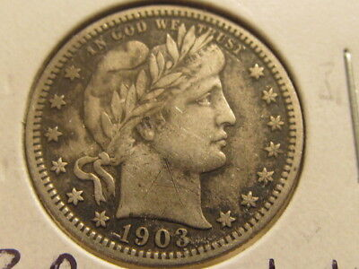 Scarce XF+ 1903 Barber quarter ... tough to find   ( fae )