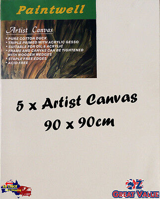 5 x Blank Artist Stretched Canvas 90X90cm Heavy Duty 38mm Thick - SCS-3636B