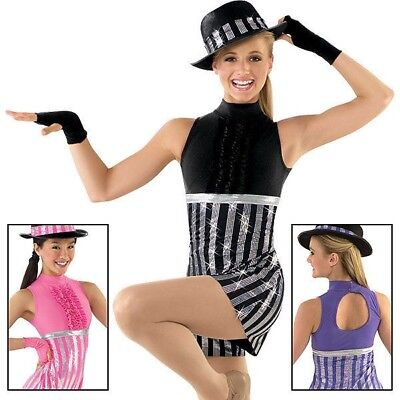 Weissman Purple Silver Tap Jazz Dance Costume Skort Adult Small