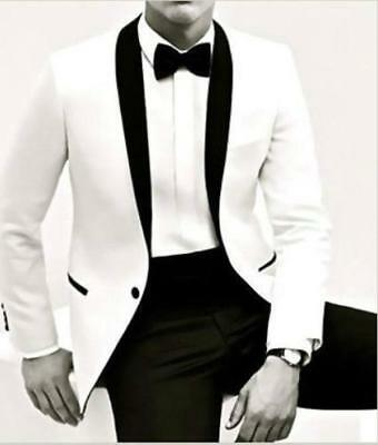New White Jacket Black Pants Tie Groom Tuxedos Groomsmen Man Wedding Suit G5635