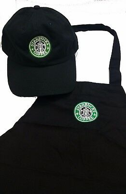 Black Starbucks Purim costume barista apron and hat set,both adjustable