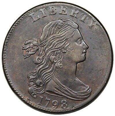 1798 Draped Bust Large Cent, Style 2 Hair, S-184, AU detail