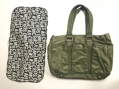Marc By Marc Jacobs Totally Turnlock Large Diaper Bag Changing Pad Green Leather