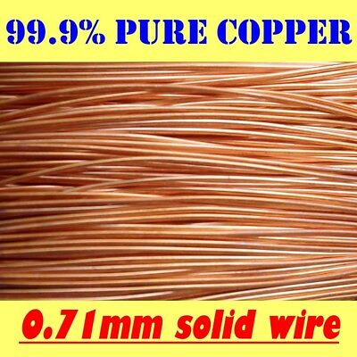 10 METRES SOLID BRIGHT 99.9% PURE COPPER WIRE, 0.71mm = 22G SWG = 21G AWG