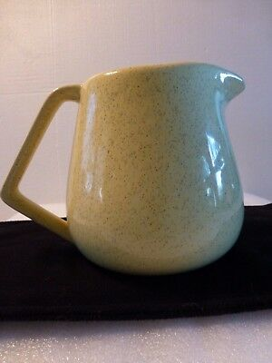 Bauer Pitcher Art Deco Eams Era  Modern Yellow Speckled Pottery