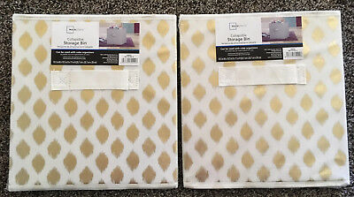 """Mainstays Collapsible Gold Ikat Fabric Storage Cube Set of 2 (10.5"""" x 10.5)  NEW"""