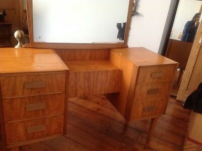 Retro Art Deco STYLISH GOLDEN BEECH & SATINWOOD DRESSING TABLE WITH TILT MIRROR