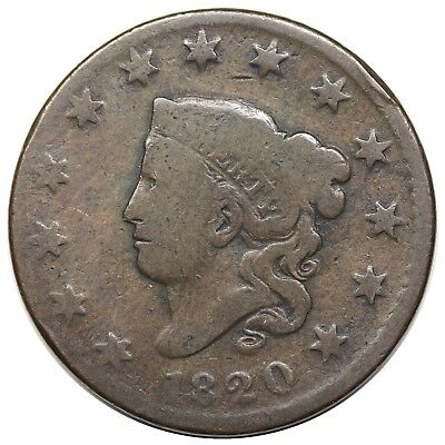 1820 Coronet Head Large Cent, Small Date, N-15, nice G, ex Newman