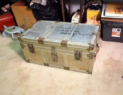 Vintage Mid Century Modern Aluminum Navy Steamer Trunk Coffee Table Steampunk