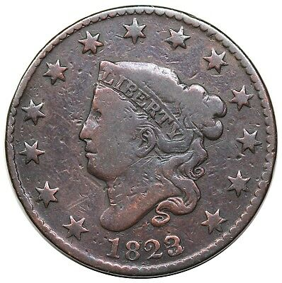 1823/2 Coronet Head Large Cent, N-1, VG+ detail