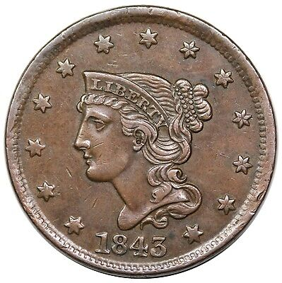 1843 Braided Hair Large Cent, Petite Head, Sm. Letters, N-9, nice XF, ex Newman