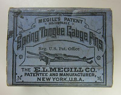 Vintage Box-Megill's Patent Adjustable Spring Tongue Gauge Pins