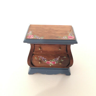1/12 Vintage Dollhouse Furniture Floral Painted Wooden Nightstand Table-Drawers