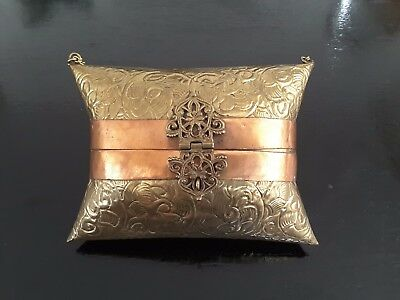 Vintage Hammered Brass Hinged Pillow Purse 1930s  - Purple Velvet Inner