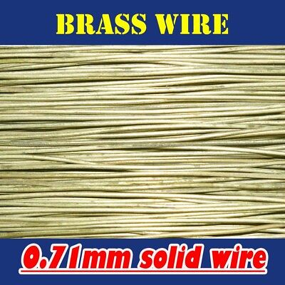 10 METRES SOLID BRASS WIRE, 0.71mm = 22G SWG = 21G AWG UNCOATED BARE, END OF RUN