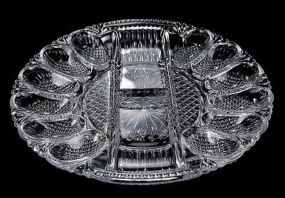 Elegant Glass Deviled Egg Oyster Divided Relish Glass Serving Plate Platter!