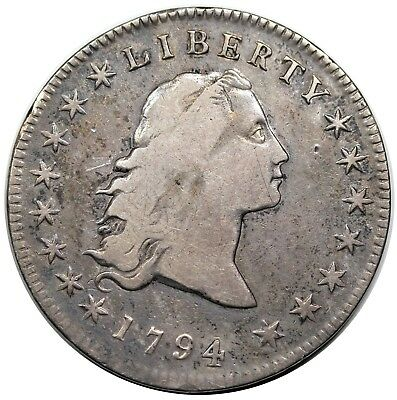 1795 Flowing Hair Dollar, 2 Leaves, B-5, BB-27, date altered to 1794, F detail