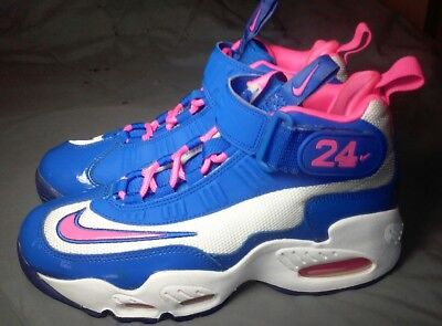 Nike Air Ken Griffey's- Sz 6Y- Girls pink blue and white shoes