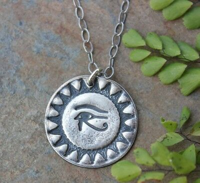 Eye of Horus Egyptian Amulet Necklace- Handmade Fine Silver Charm-Sterling Chain