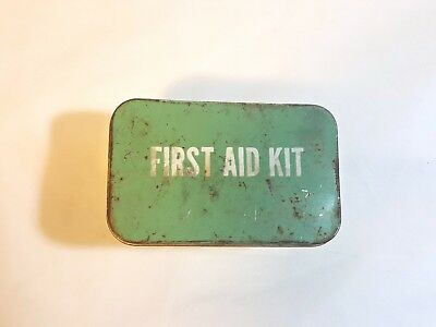 Vintage first aid kit metal hinged tin empty