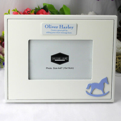 Personalised Baby Photo Frame - Blue Horse - Add a Name & Message