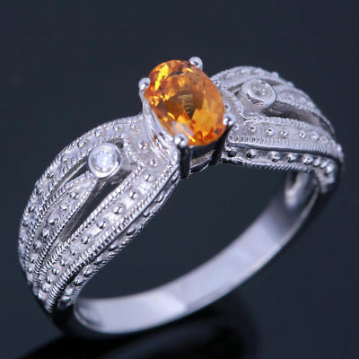 Fine Jewelry 6x4mm Oval Engagement Wedding Citrine Diamonds Ring 14k White Gold