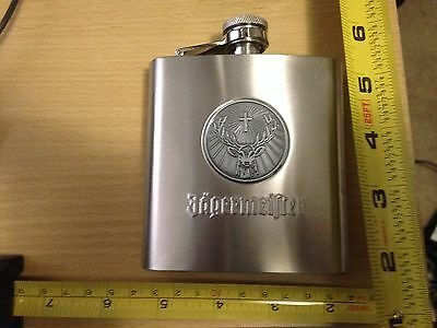 Jagermeister Flask Brushed Stainless Steel Deer head logo Thermos New