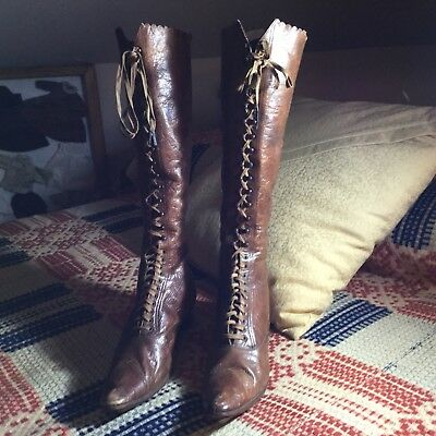 """Antique Victorian  Leather Boots Shoes Women's Lace Up High Top 15"""" Tall Riding"""