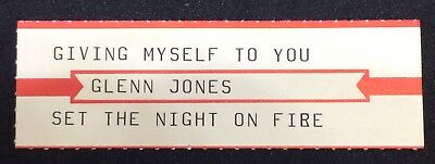 "GLENN JONES: Giving Myself To You - Jukebox Title Strip for 7"" 45RPM, NEW"