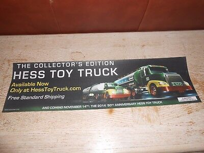 2014 HESS  SIGN ONLY - 50th ANNIVERSARY TOY TRUCK SIGN - RARE - FRONT DOOR STRIP