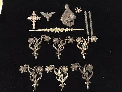 Antique Lot 13 Pc Ornate Brass Accents Furniture Arts Crafts Floral People