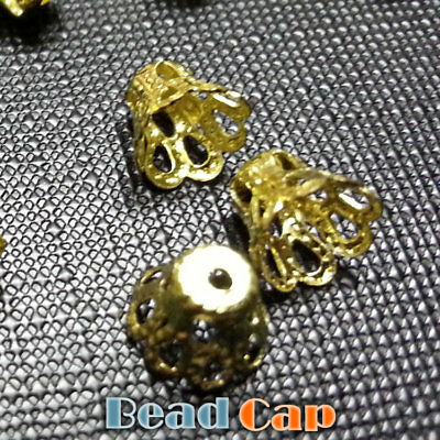 20 Gold Plated Flower Bead Caps 5x7mm