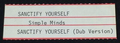 "SIMPLE MINDS: Sanctify Yourself - Jukebox Title Strip for 7"" 45RPM, NEW"